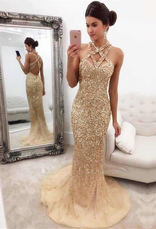 Chicloth Gorgeous Crystals Mermaid Sleeveless Halter Zipper-Back Prom Dress