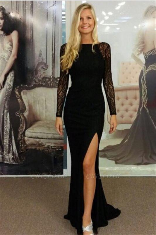 Chicloth Black Bateau Spandex Evening Dresses Backless Long Sleeves 2019 Prom Dresses
