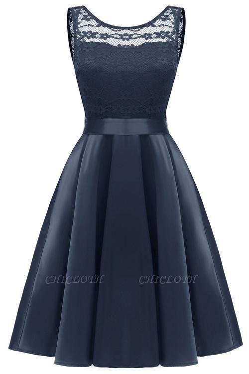 A  Chicloth Sleeveless Burgundy Knee-Length Women's Lace Dress