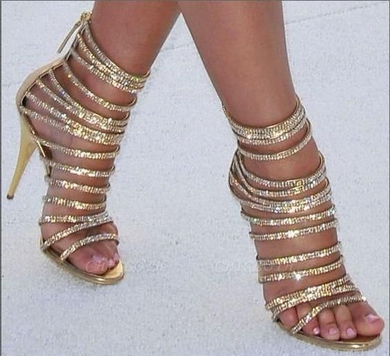 Chicloth Gold Strappy Rhinestone High Stilettos Heels Women Open Toe Party Prom Shoes