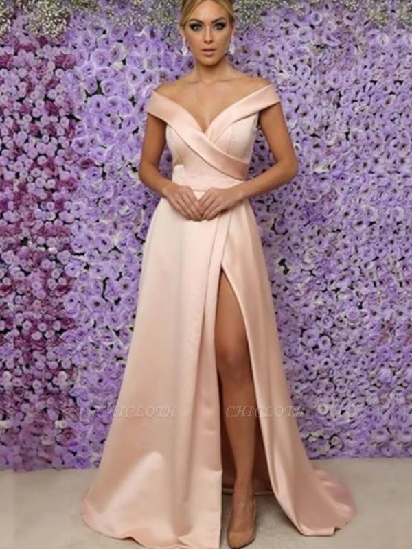 Chicloth A-Line Sleeveless V-Neck Floor-Length With Ruffles Satin Prom Dresses