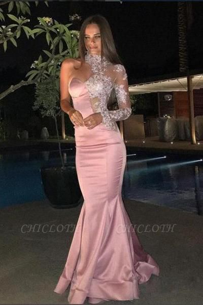 Chicloth One-Shoulder Gorgeous High-Neck Mermaid Lace Evening Dress
