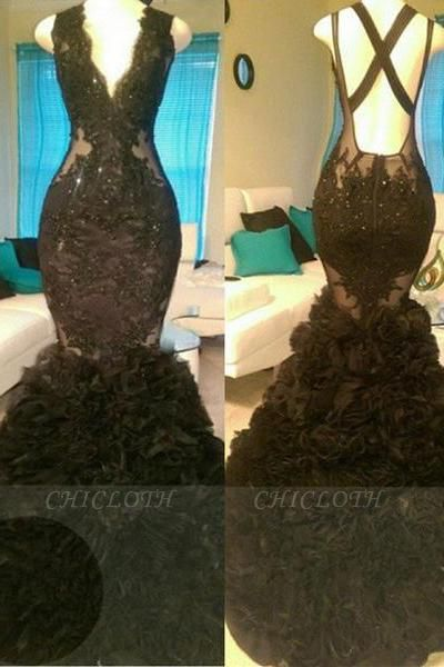 A| Chicloth Glamorous Black Mermaid V-Neck Tulle Appliques Open-Back Prom Dress