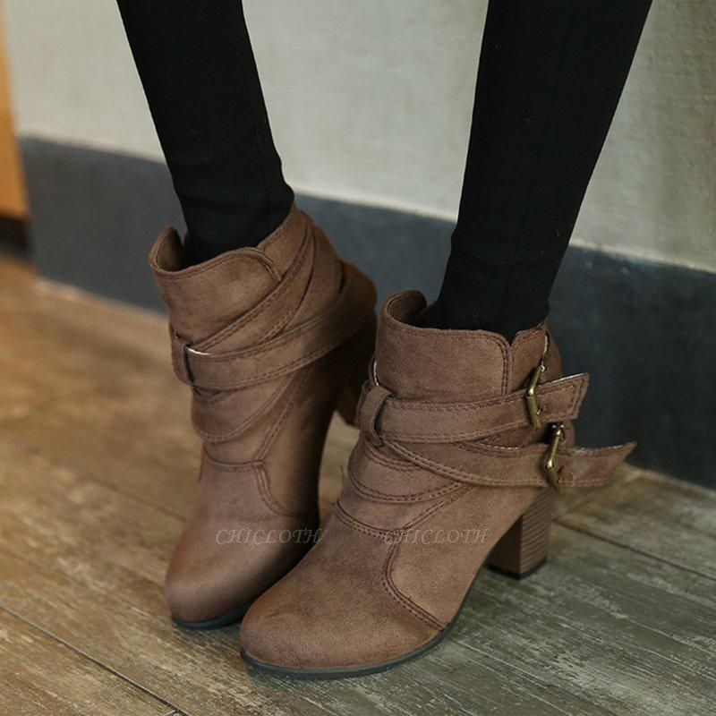 Suede Buckle Chunky Heel Daily Elegant Round Boots