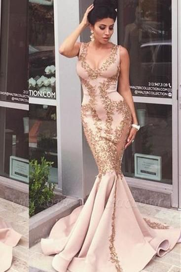Chicloth Pink Lace-Appliques Mermaid Sleeveless Prom Dresses