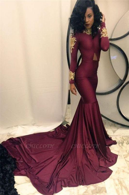 Chicloth Gold Appliques Burgundy Mermaid Evening Dress High Neck Long Sleeves 2019 Prom Dresses qq0103