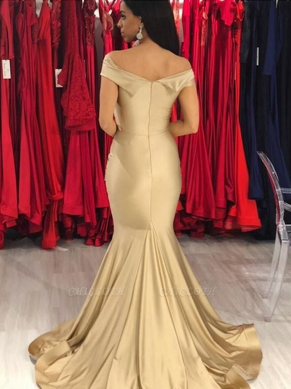 Chicloth Mermaid Sleeveless Off-The-Shoulder Sweep/Brush Train With Ruffles Prom Dresses