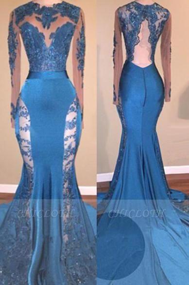A| Chicloth Blue Long-Sleeve 2019 Prom Dress | Lace Mermaid Formal Dress