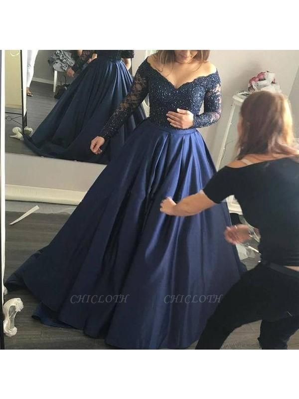 Chicloth Ball Gown Satin Off-the-Shoulder Long Sleeves Sweep/Brush Train With Beading Dresses