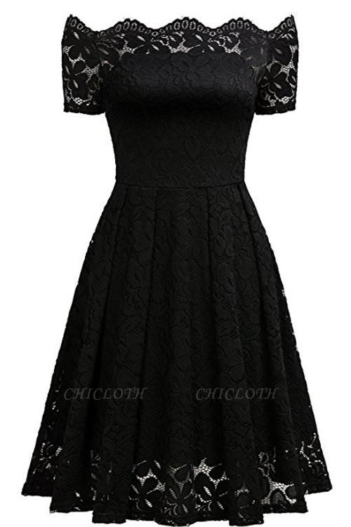 A| Chicloth 2018 Solid Lace Peasant Off the Shoulder A-line Dress