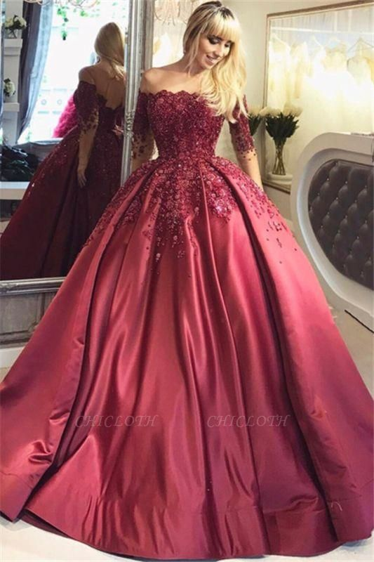 Chicloth Burgundy Off-the-Shoulder Long-Sleeves Crystal Appliques Ball Prom Dresses