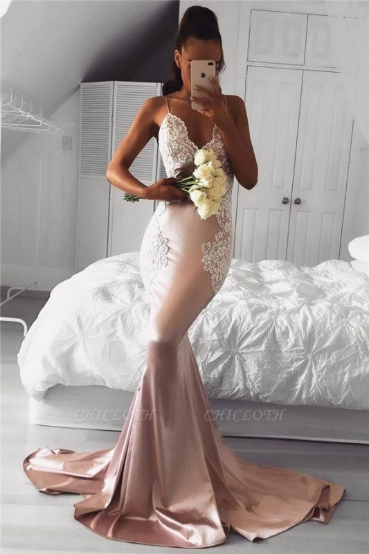 Chicloth Spaghetti Straps V-neck Pink Prom Dresses Lace Mermaid 2019 Cheap Formal Evening Gown FB02019AN0