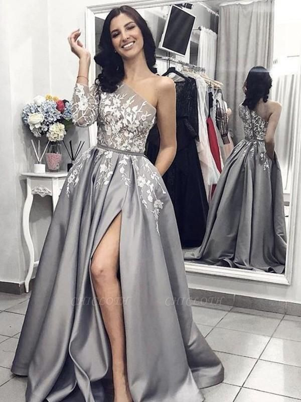 Chicloth A-Line Sleeveless One-Shoulder Sweep/Brush Train With Applique Satin Dresses