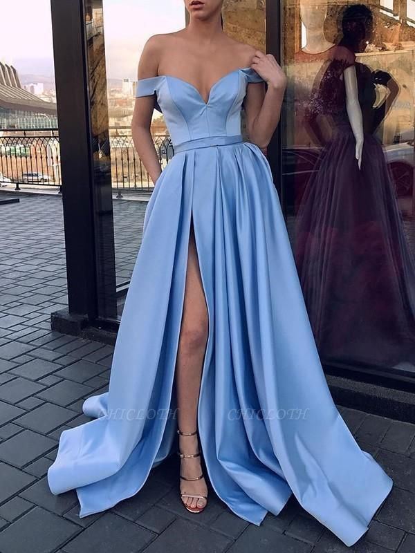 Chicloth A-Line Sleeveless Off-The-Shoulder Sweep/Brush Train With Ruffles Satin Dresses