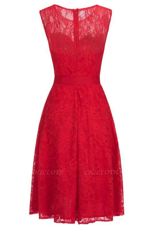 Chicloth A-line Sleeveless Burgundy Lace Dresses with Bow