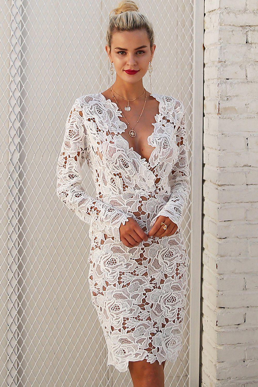 A| Chicloth Fashion V Neck Long Sleeve Lace Bodycon Midi Dress