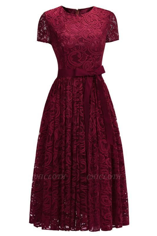 Chicloth Short Sleeves Seath Red Lace Dresses with Ribbon Bow