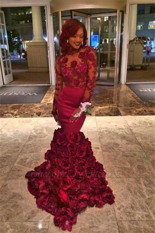 Chicloth Burgundy Lace-Appliques Long-Sleeves Flowers-Train Mermaid Prom Dresses