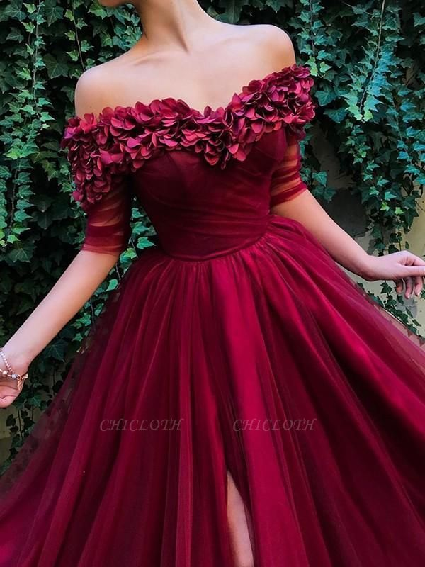 Chicloth A-Line 1/2 Sleeves Off-The-Shoulder Sweep/Brush Train With Ruffles Tulle Dresses