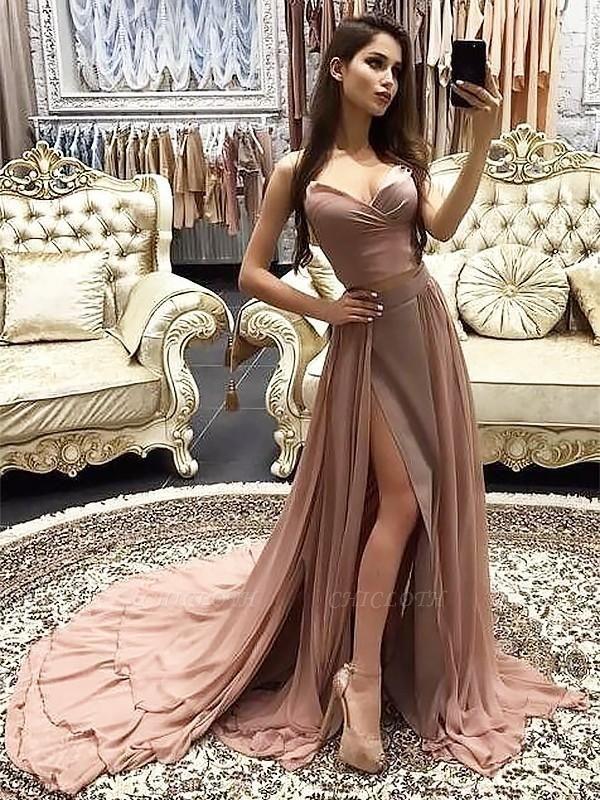 Chicloth A-Line Sweetheart Sleeveless Sweep/Brush Train With Layers Chiffon Dresses