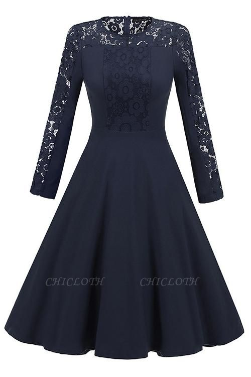 A| Chicloth Navy Blue Long Sleeve Round Neck Lace Dress