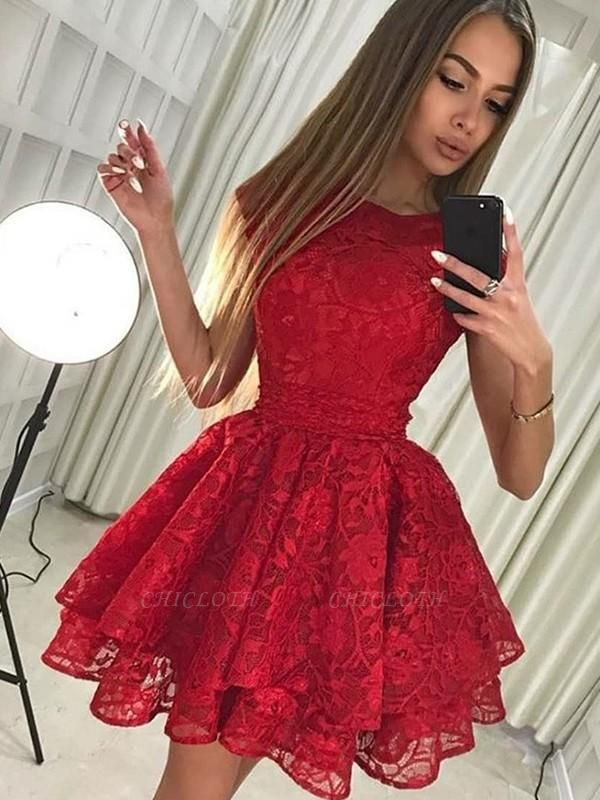 Chicloth A-Line Sleeveless Scoop Lace Short/Mini Dresses