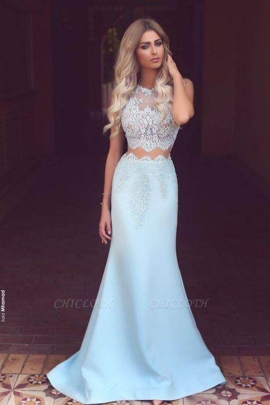 Chicloth New Arrival Two Pieces Mermaid Lace Applqiues Prom Dresses Sleeveless