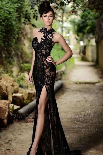 Chicloth Sexy Black Prom Dress| 2019 Mermaid Evening Dress With Slit
