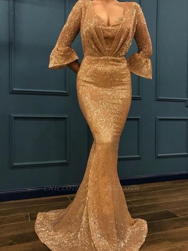 Chicloth Mermaid 3/4 Sleeves V-Neck Sweep/Brush Train With Ruffles Sequins Dresses