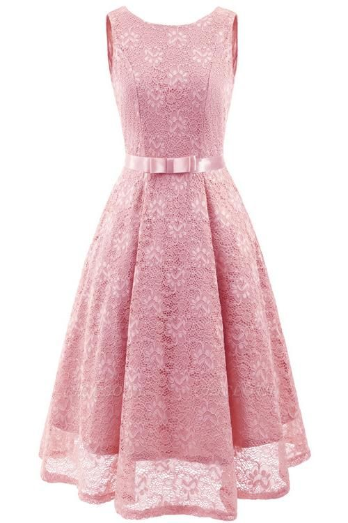 A| Chicloth Pink Sleeveless Round Neck Lace Dress