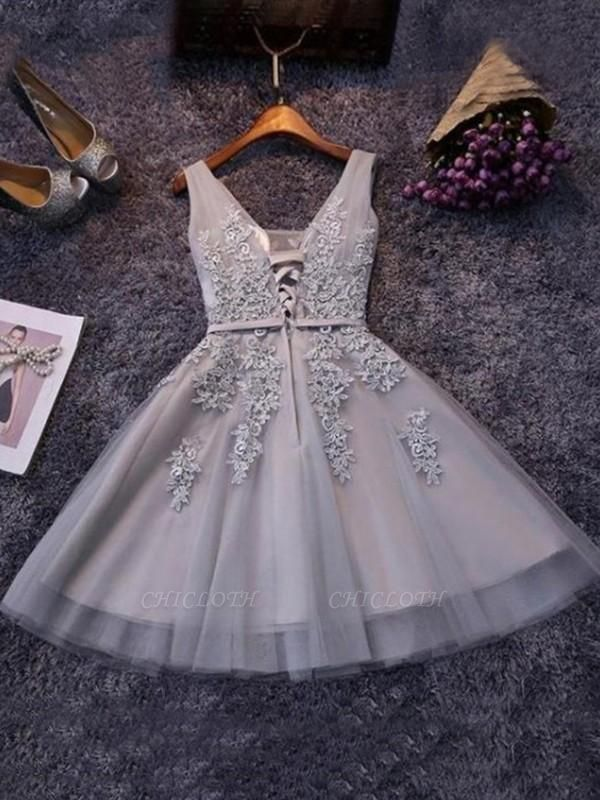 Chicloth A-Line Sleeveless Straps Tulle With Applique Short/Mini Dresses