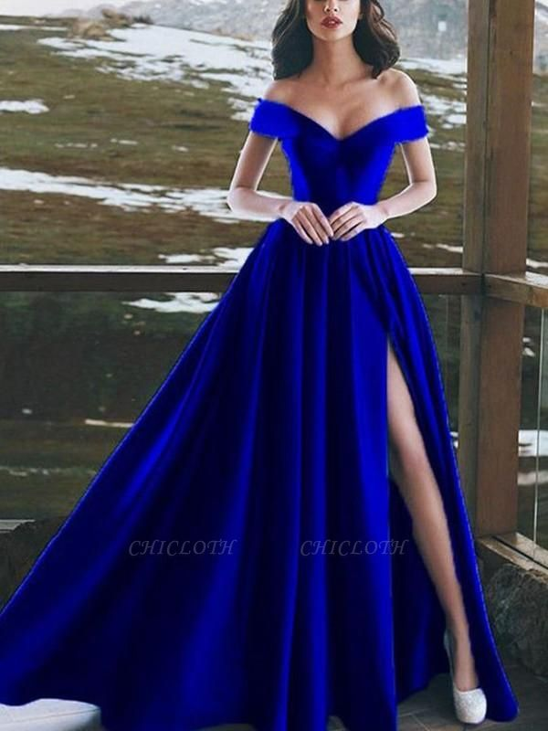 Chicloth A-Line Sleeveless Off-The-Shoulder Floor-Length With Ruffles Satin Dresses
