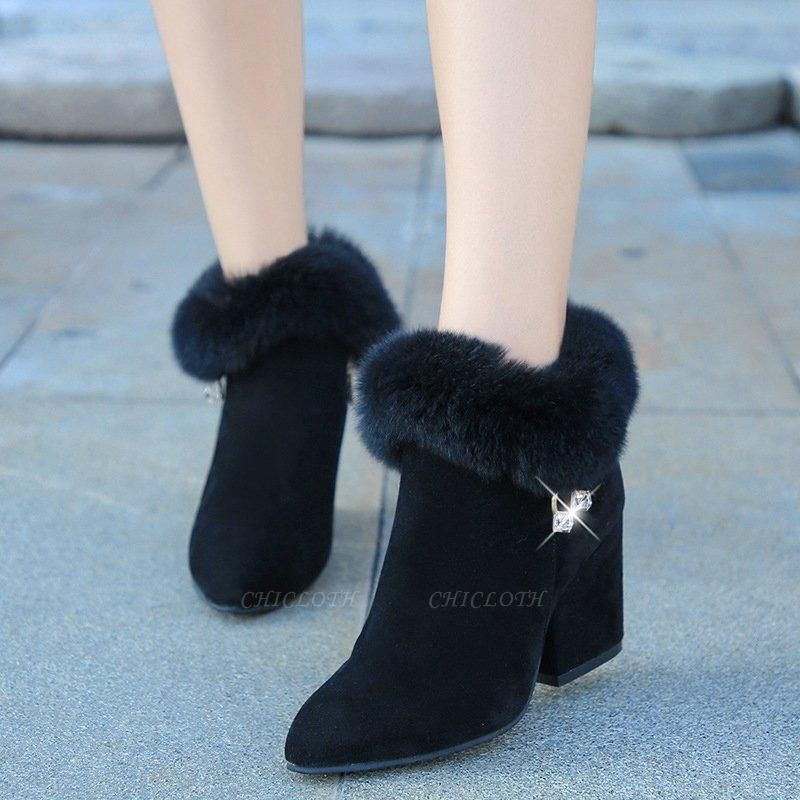 Suede Daily Zipper Chunky Heel Fur Pointed Boots