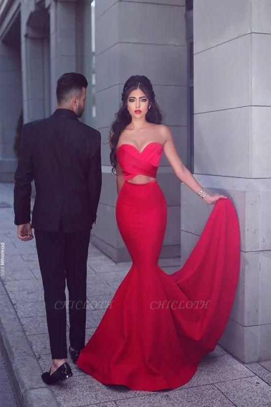 Chicloth New Arrival Sexy Mermaid Sweetheart Sleeveless Red Long Evening Dresses