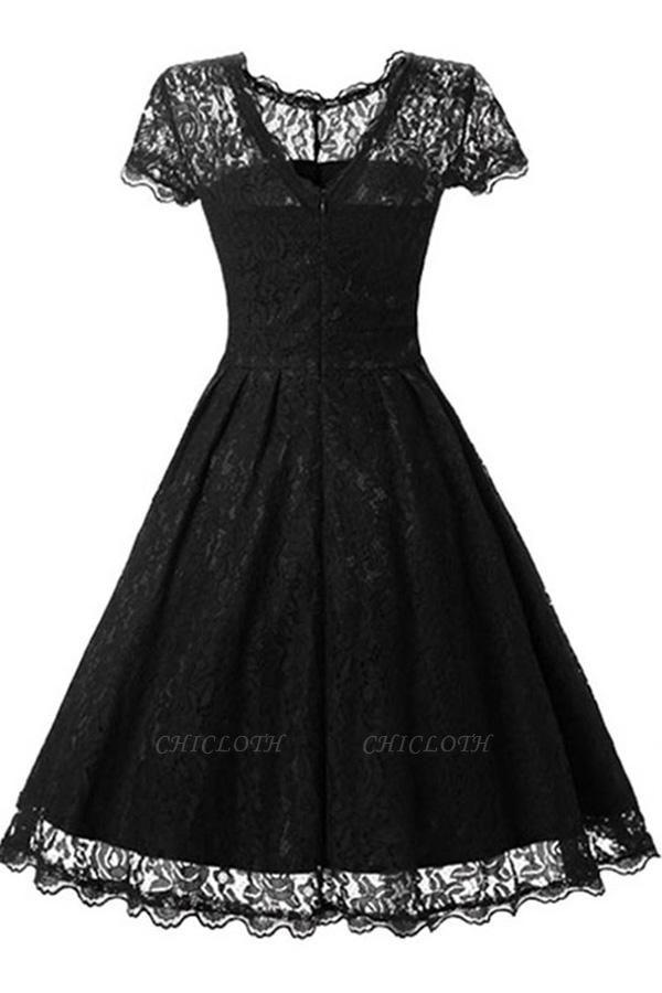Lace Black Button Chic Elegant Vintage Dresses