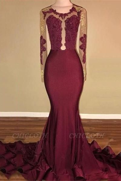 Chicloth Amazing Burgundy Gold Prom Dresses | Sexy Open Back Mermaid Evening Gowns