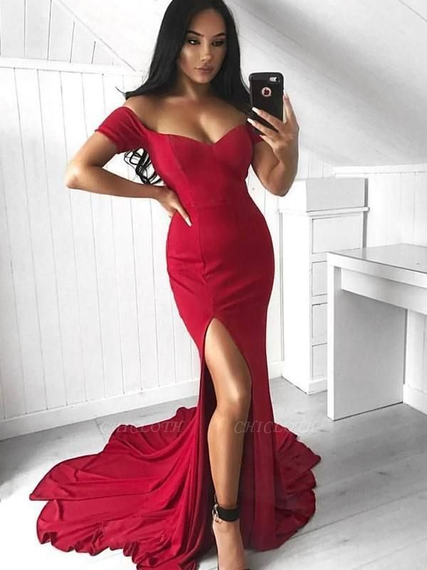 Chicloth Mermaid Sleeveless Off-The-Shoulder Court Train With Ruffles Elastic Woven Satin Dresses