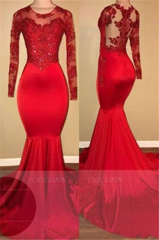 A| Chicloth Long Sleeve Mermaid Lace Prom Dresses 2019 | Red Sheer Tulle Cheap Evening Gown FB0283