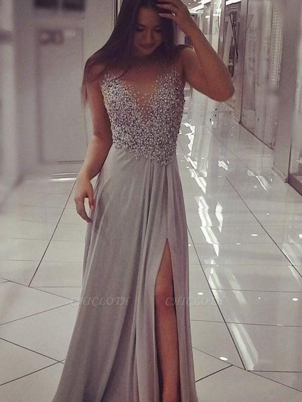 Chicloth A-Line Sleeveless V-Neck Floor-Length With Beading Chiffon Prom Dresses