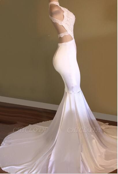 Chicloth Newest White Mermaid High-Neck Sleeveless Prom Dress