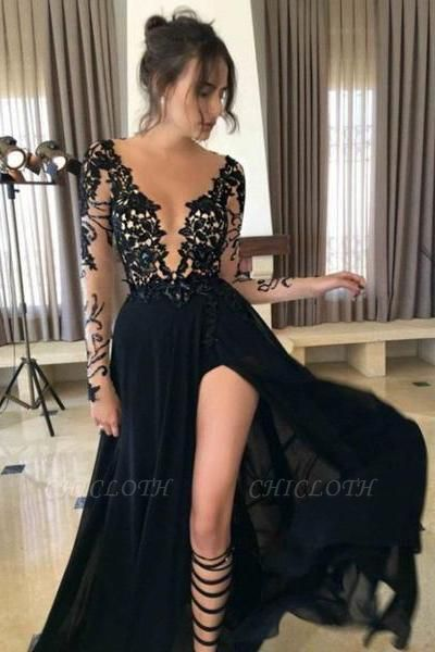 Chicloth Long Sleeves Black Side-Slit A-Line Prom Dresses