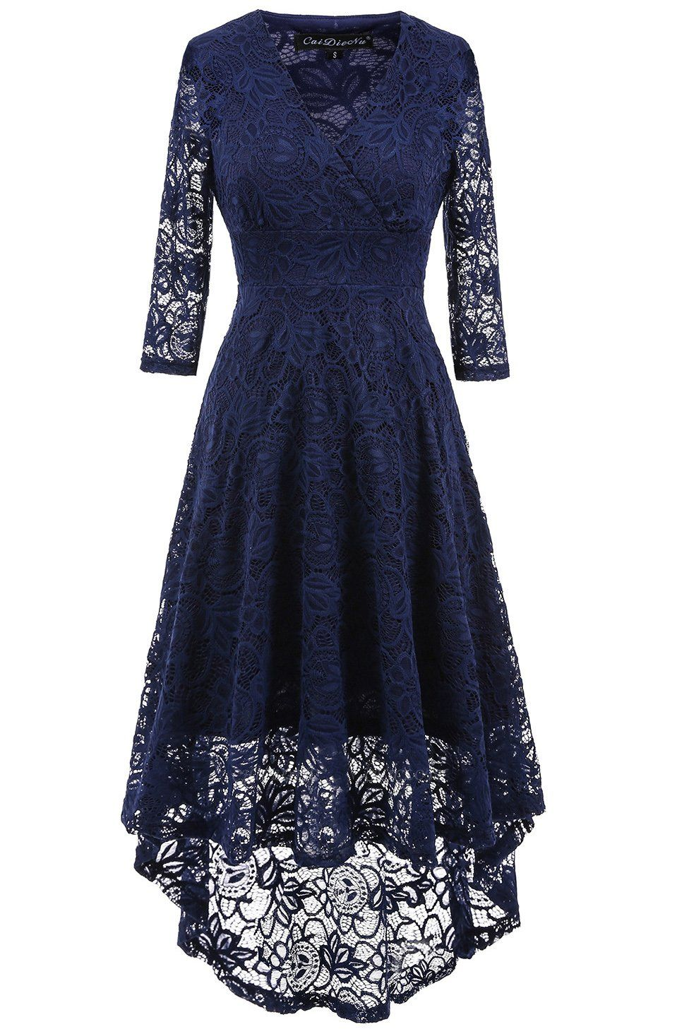 A| Chicloth Women 1950s Vintage Deep V Neck High-low Hem Lace Cocktail Party Dress