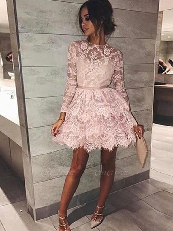 Chicloth A-Line Bateau Long Sleeves With Beading Lace Short/Mini Dresses
