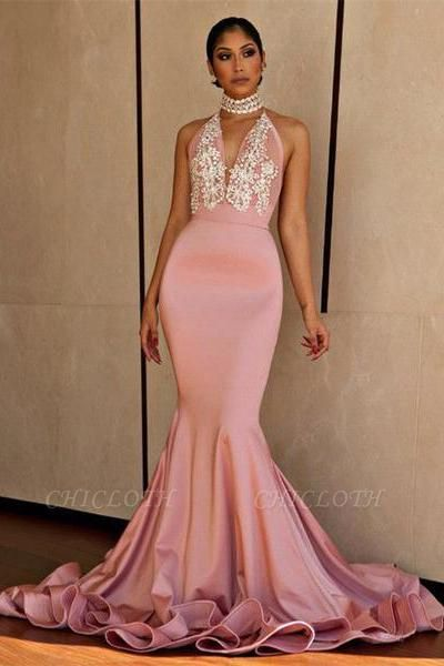 Chicloth Halter V-neck Mermaid Beading Prom Dress 2019 | Sexy Backless Pink Evening Dress with Long Train