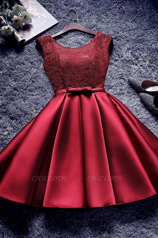 A| Chicloth Short Burgundy Homecoming Dress Bridesmaid Dress