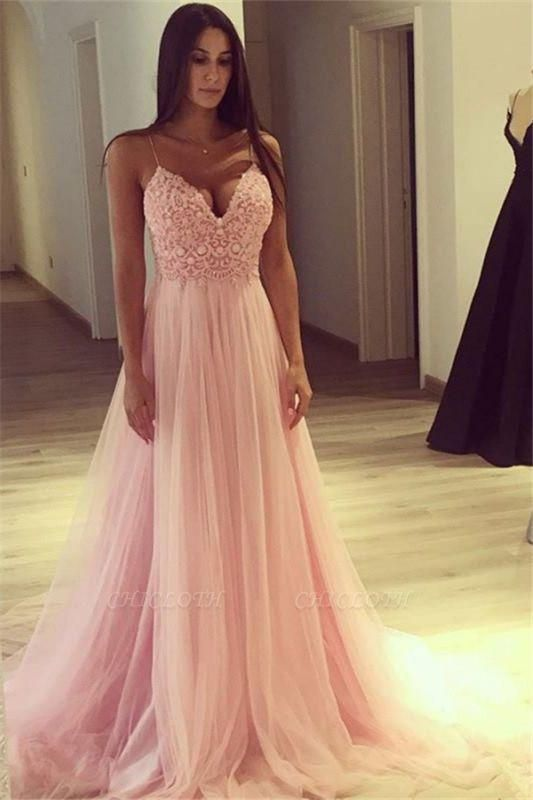 Chicloth Elegant Pink A-line Evening Gowns | Spaghettis Straps Tulle Prom Dresses