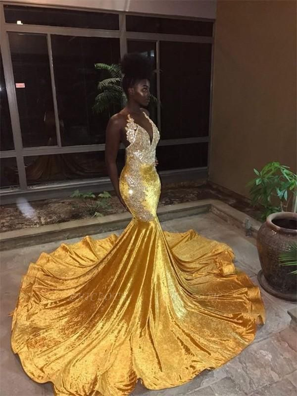 Chicloth Mermaid Sleeveless V-Neck Court Train Lace Sequins Dresses