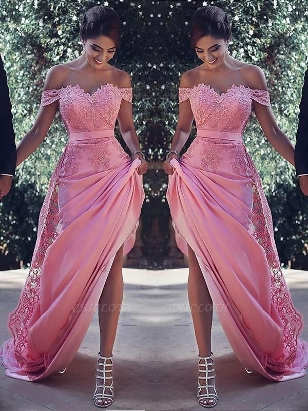 Chicloth Sheath Off-The-Shoulder Sleeveless Sweep/Brush Train With Lace Silk Like Satin Dresses