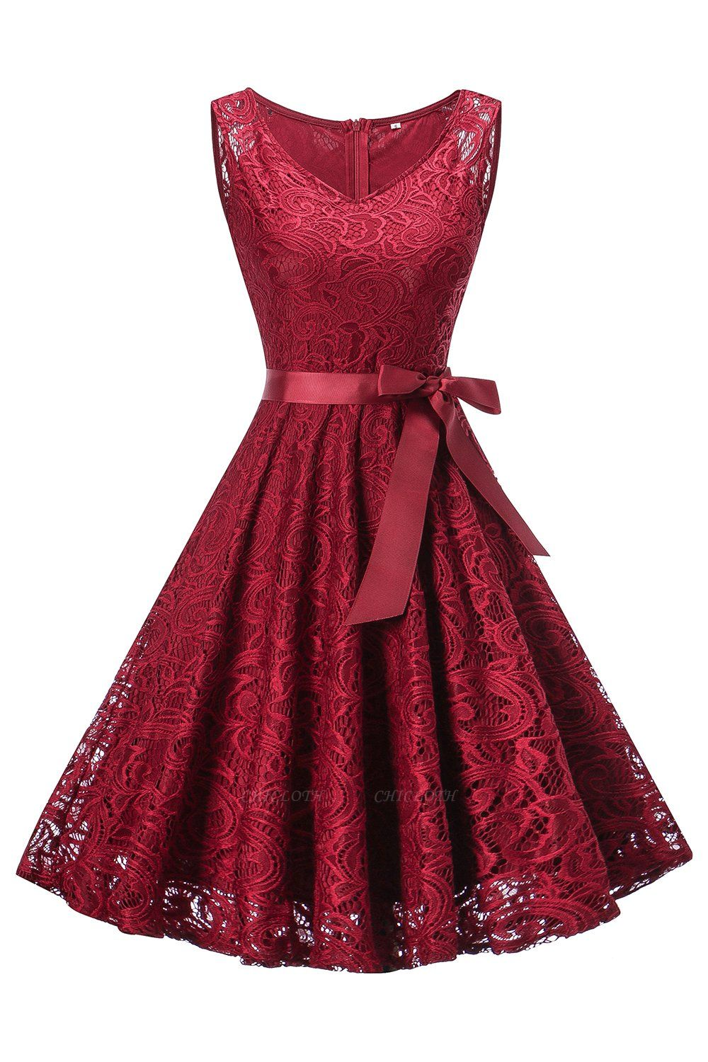 A| Chicoth Vintage Floral Lace Pleated Dress Women Sleeveless V-Neck Elegant Party Sexy Dresses