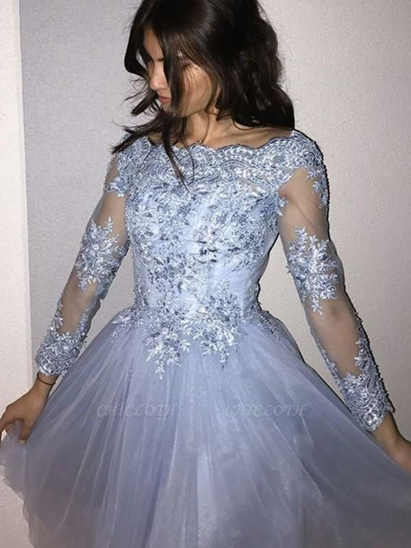 Chicloth A-Line Long Sleeves Off-the-Shoulder Tulle With Applique Short/Mini Dresses